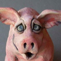 Sitting Pig Ceramic Sculpture by RudkinStudio on Etsy