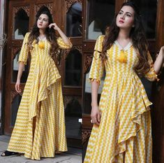 Beautiful Cotton Kurti with modern silhouettes and style.order contact my whatsapp number 7874133176 Dress Neck Designs, Designs For Dresses, Stylish Dresses, Casual Dresses, Fashion Dresses, Maxi Dresses, Dress Indian Style, Indian Dresses, Kurti Styles