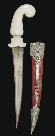 A Mughal jade hilted dagger and scabbard, North India, 18th century