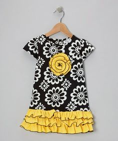 Take a look at this Black & Yellow Blossom Cap-Sleeve Dress - Infant, Toddler & Girls by Calico Monkey on today! Frocks For Girls, Little Girl Dresses, Girls Dresses, Baby Dresses, Toddler Clothes Diy, Baby Girl Fashion, Kids Fashion, Infant Toddler, Toddler Girls