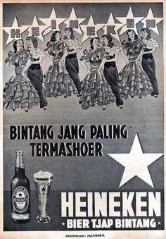 Indonesian Old Commercials: HEINEKEN -BIER TJAP BINTANG- (Beer). There was a huge ex-beer factory on the street corner in Surabaya, pass it everyday on my way to university. Old Advertisements, Retro Advertising, Vintage Ads, Vintage Posters, Beer Factory, Old Commercials, Old Ads, Illustrations And Posters, Thoughts