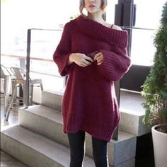 Korean Burgundy Chunky Off Shoulder Sweater Bought it from GMarket. Only worn once. Retail price $45. One size fits all. Sweaters