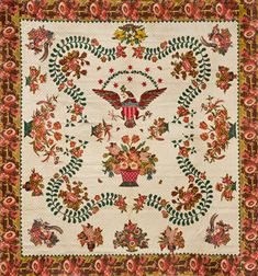 """Elizabeth Welsh: Quilt, circa 1825–40. Appliquéd cottons, 110 1/2 x 109 in. Part of the """"Workt by Hand"""": Hidden Labor and Historical Quilts exhibit showcasing approximately thirty-five American and European quilt masterpieces from the Brooklyn Museum's renowned decorative arts collection, March 15 to September 15 at the Brooklyn Museum."""