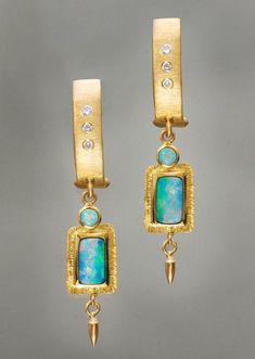 Rhapsody in blue: Douglas Zaruba the jewelry loupe Opal Earrings, Opal Jewelry, Jewelry Art, Jewelry Accessories, Fine Jewelry, Jewelry Design, Fashion Jewelry, Steampunk Fashion, Gothic Fashion