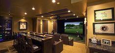 VGolf offers the best golf simulators and multi sport simulators. We manufacture and sell virtual golf simulators, offer turnkey virtual golf simulator solutions Best Home Theater, Home Theater Rooms, Home Theater Design, Home Golf Simulator, Indoor Golf Simulator, Golf Room, Man Cave Basement, Golf Simulators, Home Cinemas