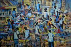 Palengke - A busy market scene Filipino Art, Artists Like, Pinoy, Philippines, Oil On Canvas, Artworks, Scene, Marketing, Gallery