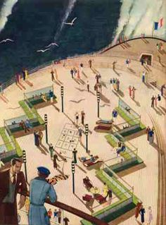 Paul Iribe - Illustration 'Le Normandie' - Le Pont Arrière - 1935 Ss Normandie, Mode Of Transport, Queen Mary, Ways To Travel, Art Deco Fashion, Vintage Travel, Terrace, Ocean, Shit Happens