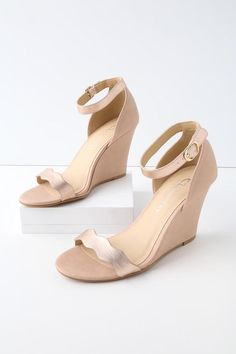 23af1a51505  AdoreWe  Lulus -  Lulus Brighter Rose Gold and Pink Ankle Strap Wedges -