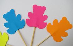10 teddy bears cake toppers neon colours Party picks
