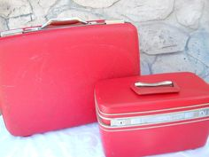Vintage Red train cases collectible suitcase by PerfectlyGoodStuff, $86.00