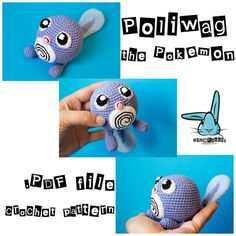 Amigurumi Poliwag the Pokemon crochet pattern. Pokemon toy pattern. Tiny toy…