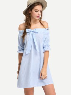 Blue Off The Shoulder Striped Bow Shift Dress Makes Vacation Chic