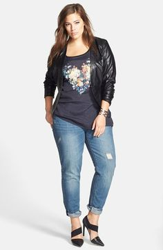 City Chic Faux Leather Jacket, Tee & Boyfriend Jeans (Plus Size)  available at #Nordstrom