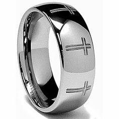 Men's Tungsten Carbide Laser-etched Eternity Cross Band (8 mm) | Overstock.com Shopping - Big Discounts on Men's Rings