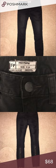 Free People Black Zipper Back Pants 24 Gorgeous new without tags Pants!!! Super cute with a zipper in the back. Faded black velvety FP skinnies. Zipper detail on back of calves. Free People Jeans Skinny