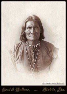 "Restored Cabinet Card of a younger Geronimo. 1888. The greatest and most feared of the plains indian chiefs,,,""I want to speak with the president"" ""The president only meets with other presidents..."" ""I am a president."""