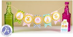 Hampton Art Spring Party Banner and Tag Party Props, I Party, Party Ideas, Diy Ideas, Craft Ideas, Hampton Art, Paper Crafts, Diy Crafts, Spring Party
