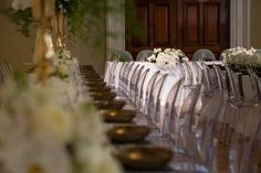 Classic and Class Long Tables and setting by Dann Event Hire in the Isabella Fraser Room at the State Library Victoria. Floral pieces by Bouquet Melbourne