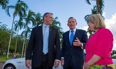 Then NT chief minister Adam Giles with then prime minister Tony Abbott and then federal MP Natasha Griggs during a visit to the Darwin Port Corporation in February 2014