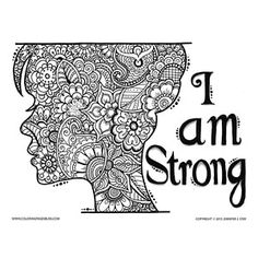 Flowers and Paisley Silhouette of Woman with the Words I Am Strong