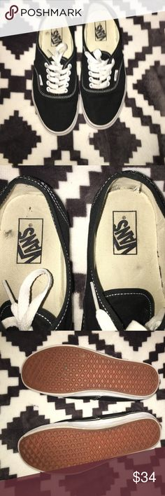 Vans black Used them once to Disneyland! See photos for signs of wear! Minor mark inside and minor marks on soles. Women 9 and mens 7.5 Vans Shoes Sneakers