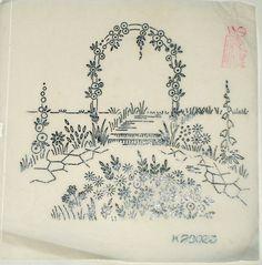 Vintage Deighton embroidery transfer - Rose Flower Arch garden scene #VintageEmbroideryPatterns