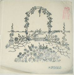 Vintage Deighton embroidery transfer - Rose Flower Arch garden scene