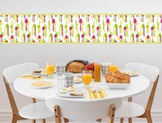 Bunte Küchenbordüre mit Besteck - I-love-Wandtattoo.de