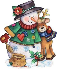 Snowman and Reindeer Christmas Graphics, Christmas Clipart, Christmas Printables, Christmas Pictures, Christmas Snowman, Winter Christmas, Vintage Christmas, Christmas Crafts, Frosty The Snowmen
