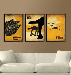 Star Wars Millennium Falcon, X-Wing and ATAT Vintage Poster Set 11X17. $40.00, via Etsy.