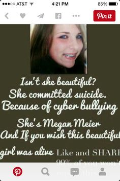 She actually is very pretty, and the cyber bullies are jealous idiots that don't have anything better to do than to force an innocent girl to commit suicide. Why is our world like this?!?!