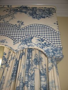Teacup Lane: My Blue & White Decor. Blue and white toile and checked fabric on upholstered, shaped, cornice board, and drapes. French Country Fabric, French Country Style, Rustic French, Modern Country, French Decor, French Country Decorating, Toile Curtains, Burlap Curtains, Country Curtains