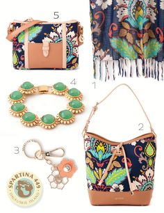 #Spartina449 #Amelia pattern (1) Bamboo Weave Scarf (2) High Tied Bucket (3) Magnolia Keychain Coral (4) Sunflower Bracelet Green (5) Dockside Zip. Shop it or visit your local Spartina 449 Retailer.