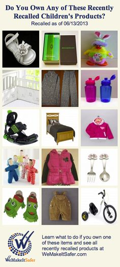 Recently recalled children's products, including jackets, sandals, beds, tricycles & more. See the rest at WeMakeItSafer.com