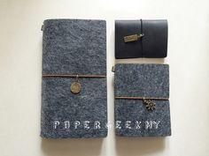 Refillable Felt Journal Midori Traveler's Notebook by PapergeekCo