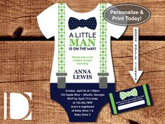 Little Man Baby Shower Invitation, Onesie Invitation, Bow Tie, Suspenders, Navy, Green, Instant Download, DIY, BONUS Raffle Tickets