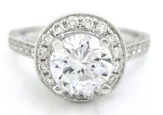 Round cut diamond engagement ring art deco 2.08ctw by KNRINC, $5944.00