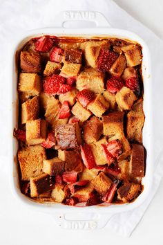 This vegan strawberry French toast casserole is the most delicious make-ahead breakfast! It's packed with fresh strawberries and made with a creamy, dairy-free base. The casserole is perfect for spring brunches and special occasions—it's a total crowd pleaser!
