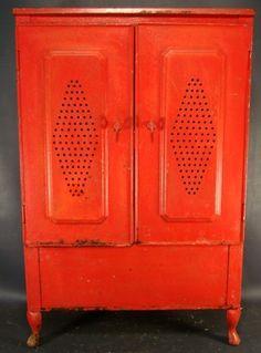 Antique Primitive Metal Pie Safe Old Tin Red Pantry Veggie Bin Kitchen Cabinet