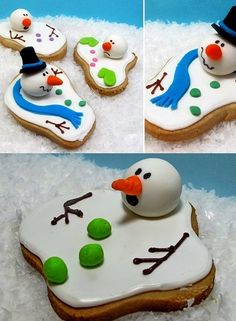Melting Snowman cookies. Fun little desert idea, and a great conversation starter at parties!