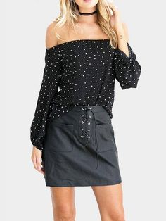 a8f543b267115 Dot Print Off-The-Shoulder Blouse in Black - US 13.95 -YOINS
