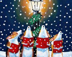 Corgi Christmas Caroling art