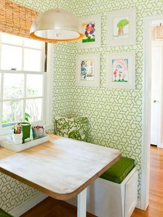 Weighty Walls - 10 Kitchen Updates That Won't Break the Bank on HGTV- use wall paper instead of paint or bead board
