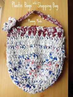 Mammy Made: Recycle Plastic Bags into a Reusable Shopping Bag - Free Crochet Pattern