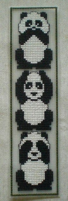 See no evil, Hear no evil, Speak no evil pandas - shown in reverse order here Cross Stitch Bookmarks, Mini Cross Stitch, Cross Stitch Animals, Cross Stitching, Cross Stitch Embroidery, Hand Embroidery, Plastic Canvas Crafts, Plastic Canvas Patterns, Cross Stitch Designs