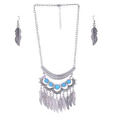 Go Trendy, Go Bohemian with Aaishwarya Antique Silver Boho Style Feather Charms Necklace Set. #necklaceset #bohostyle #bohemiannecklaceset #oxidisedjewelry #fashionjewelry #statementnecklace #silvernecklaceset