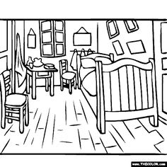 free coloring page of Vincent van Gogh painting - The Bedroom in Arles. You be the master painter! Color this famous painting and many more! You can save your colored pictures, print them and send them to family and friends! Inside Out Coloring Pages, Online Coloring Pages, Coloring Books, Free Coloring, Paintings Famous, Van Gogh Paintings, Famous Art, Van Gogh Art, Art Van