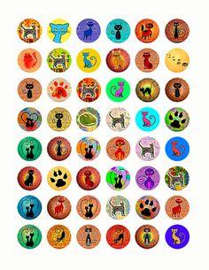 Сats 1x1 Inch Circles Digital Collage Sheet by HrustallArt on Etsy