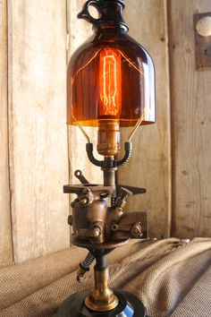Vintage Industrial Style Table Lamp, Reclaimed Rustic Brown Jar Globe, Edison…