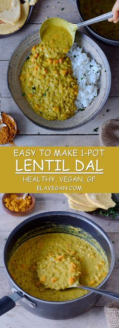 This healthy 1-pot lentil dal is creamy, satisfying and a great vegan comfort meal. The recipe is cooked in one pot and is very easy to make. #vegan #glutenfree #dal #lentildal #dhal #dahl #dinner #lunch #comfortfood | elavegan.com